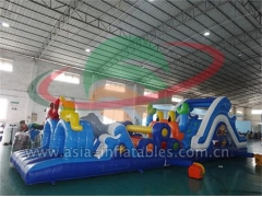 Giant Inflatable Obstacles Kids And Adults Play Inflatable Obstacle Course With Small Slide