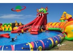 Inflatable Red Dragon Water Slide with Pool