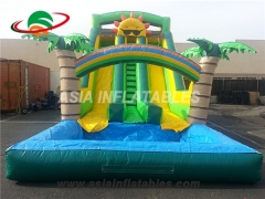 Commercial Dual lane palm tree inflatable water slide