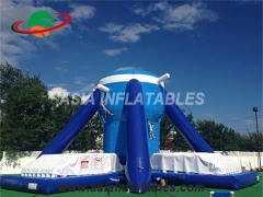 Blue Climbing Wall Massive Inflatable Rock Free Climb For Sale & Interactive Sports Games
