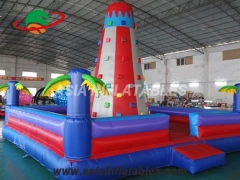 Party Bouncer Commercial Palm Tree Design Inflatable Climbing Wall For Kids