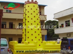 Attractive Yellow Tall Inflatable Sports Games Inflatable Climbing Wall For Fun & Interactive Sports Games